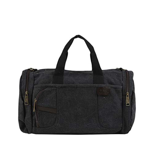 Canevas Janexi Sac Capacité Bags Noir Air Shoulder Fourre Jeunesse Hommes Voyage D'épaule Grande Portatif De Multi usage Plein Vintage prrSwxnf0