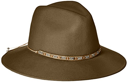 Gottex Women's Moonlight Wool Felt Sun Hat w/Jewel Trim, Rated UPF 50+ For Max Sun Protection, Brown, Adjustable Head - Sunglasses Hilton Head