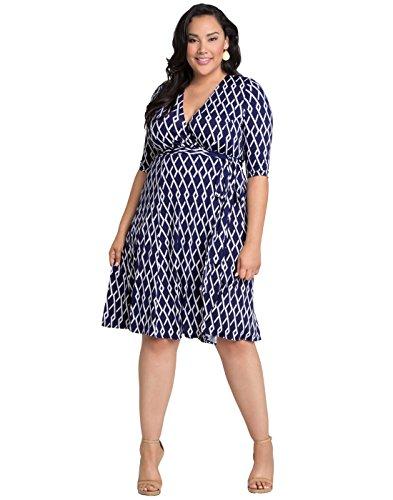 Kiyonna Women's Plus Size Essential Wrap Dress 3X Navy Geometric Print