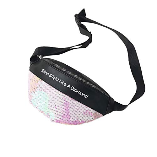 - NUWFOR Unisex Sequins Leather Fashion Bag Shoulder Crossbody Bag Chest Bag(Pink)