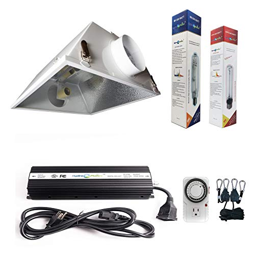 Hydroplanet&Trade; 600W Horticulture Air Cooled Hood Set Grow Lights Reflector Digital Dimmable Ballast HPS MH System for Plant Grow Light Kit (600w)