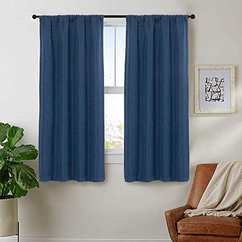 jinchan Room Darkening Curtains Bedroom Window Treatment Set Linen Textured Curtains Living Room Curtain Panels Rod Pocket 1 Pair 63 Inch Denim Blue