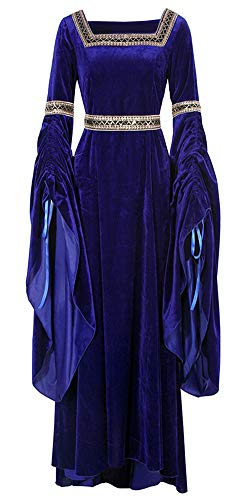 ROLECOS Medieval Costume Women Vintage Long Dress Floor Length Deluxe Victorian Dress Navy Blue S]()