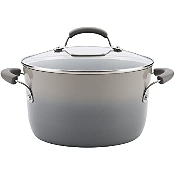 Rachael Ray 19013 BrightsNonstick Stock Pot/Stockpot with Lid - 6 Quart, Gray