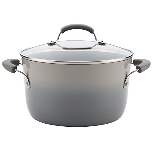 Rachael Ray Classic Brights Hard Enamel Nonstick 6-Quart Stockpot, Sea Salt Gray