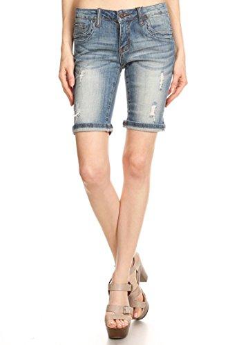 Vialumi Women's Cuffed Knee Length Bermuda Jean Shorts Faded Light Denim Large