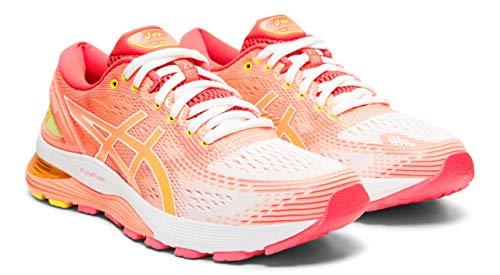 ASICS Women's Gel-Nimbus 21 Arise Running Shoes, White/Sun Coral, 8.5 M US