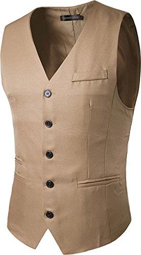 Sportides Mens Waistcoat Gilet Business Gentleman Vest Suits Blazer JZA003 Khaki L