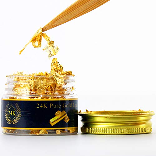 (Edible Genuine Gold Leaf Flakes, 100mg 24K Gold Flakes Facial Mask Decorative Dishes,Genuine Gold Leaf for Cooking, Cakes & Chocolates, Decoration, Health & Spa)