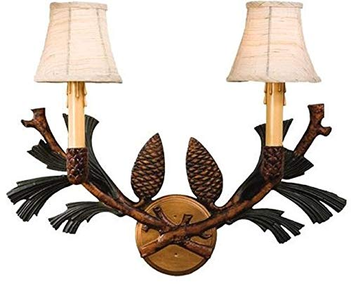 Pinecone 2 Light Sconce - EuroLuxHome Wall Sconce Pinecone Bough 2-Light Cast Resin Linen Shade New Hand-Painte