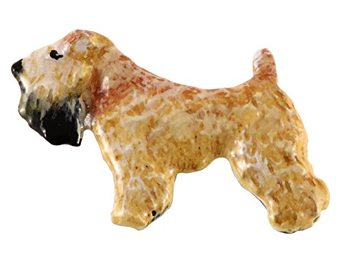 Creative Pewter Designs Pewter Full Body Wheaton Terrier Handcrafted Dog Lapel Pin Brooch, Hand Painted Finish, DP480F
