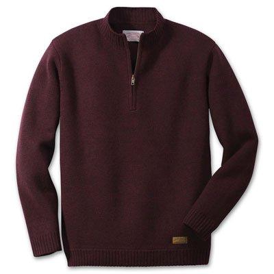 Filson Mens Merino Wool Midweight Half Zip (Small, Dark Burgundy) 11005