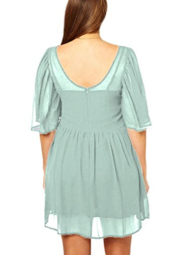 Jennah Kittel DéclicShopping mit Chiffon Kleid hoher Futter Grün Taille xfwY4Bqf