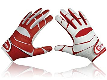 Cutters Receiver X40 Yinyan American Football Gloves Red Rot Weiss