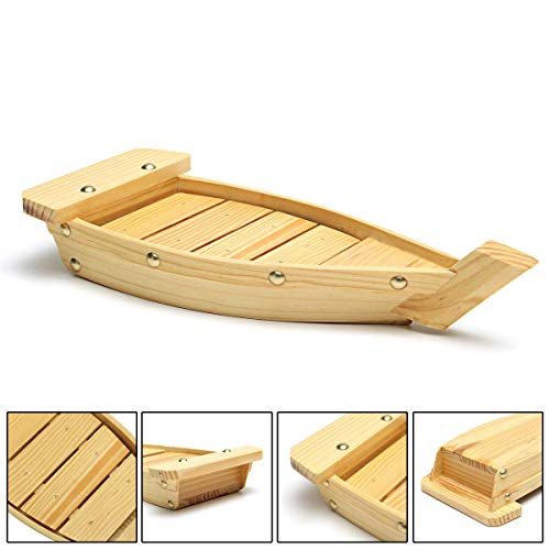 "100% Natural Bamboo Wooden Sushi Tray Serving Boat Plate for Home or Restaurant - Japanese Sushi Boat (16.5"" x 6.5"" x 2.5"")"