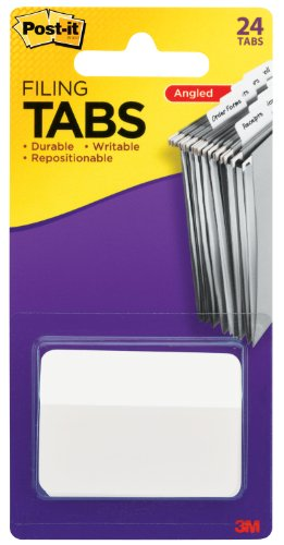 Post-it Tabs, 2-Inch Angled Solid, White, 24-Tabs/Pack