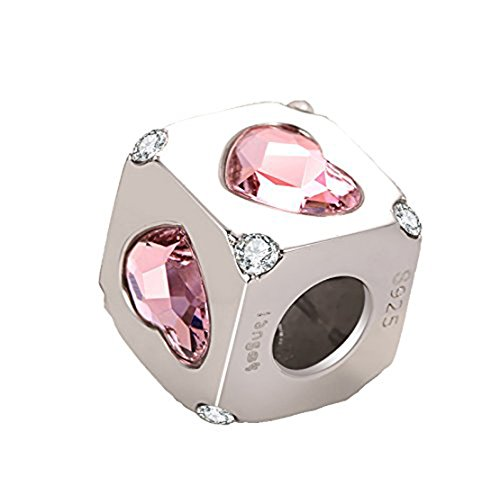 i'ange's Silver Heart Shaped Design Bead Charms with Pink Crystal, 925 Sterling Silver Charms for Bracelets