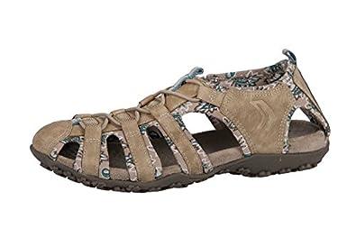 Geox Velourleder D1125a strel Damen Gummizug Sandale Sandalette Sand Beige 53cRqA4jL