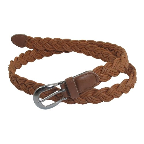 Allegra K Women Brown Single Prong Buckle Braided Faux Leather Waist Belt (Skinny Braided Belt)