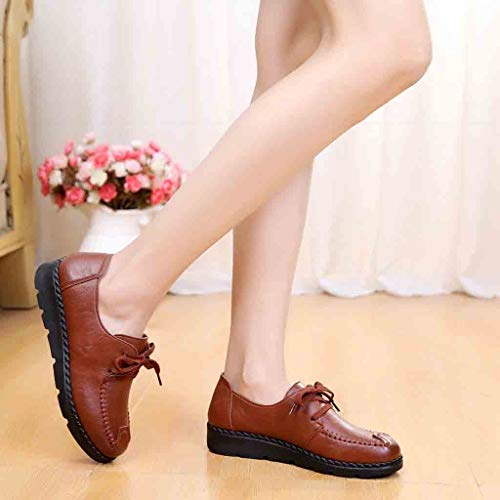 Calzado Inferior La Étnico Para Bordado Suave Madre Edad Mediana Estilo Planos Zapatos Brown Mujer Inferiores De Mocasines P1qUvx