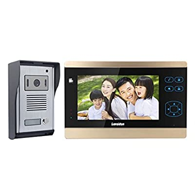 Lansidun Doorbells Wired 7 inch Video Door Phone Dual-way Intercom System Home Security Kit with Monitoring, Night Vision, Photos and Videos Recording