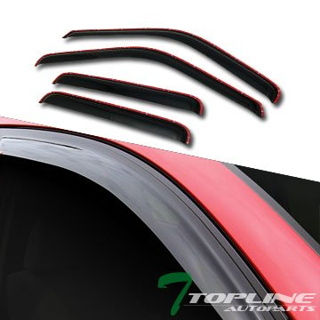 Topline Autopart In Channel Smoke Window Visors Deflector Vent Shade Guard 4 Pieces For 99-15 Ford F250 / F350 / F450 Superduty Crew Cab