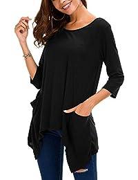 Urban CoCo Women's Plus Size Pocket Tunic Top 3/4 Sleeve Shirt