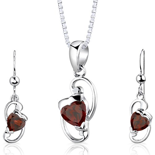 (Garnet Pendant Earrings Set Sterling Silver Rhodium Nickel Finish Heart Shape 2.00 Carats)