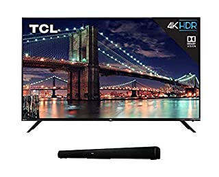 """TCL 55R617 55-Inch 4K Ultra HD Roku Smart LED TV (2018 Model) with 5 2.0 Channel Home Theater Sound Bar - Ts5000, 32"""", Black (B07QTFBR5J) 