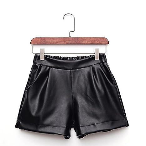 b2cc49f7f413e3 YYJZJW Pantaloncini da donna Pantaloncini da donna Gonne invernali  Pantaloni in pelle PU Pantaloncini da donna