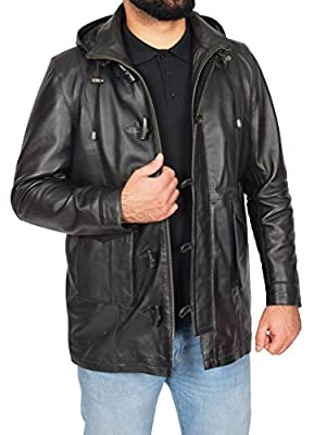 Mens Leather Duffel Coat with Detachable Hoodie Classic Overcoat Parka Jack Black