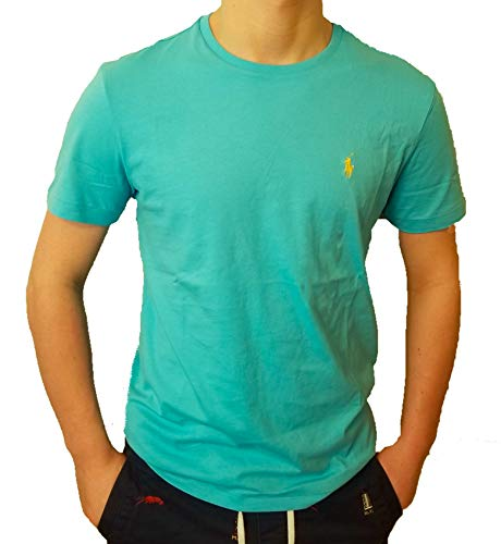 (Polo Ralph Lauren Men's Classic Fit Solid Crewneck T-Shirt (Small, Bahama Blue))