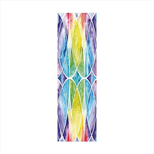 Decorative Window Film,No Glue Frosted Privacy Film,Stained Glass Door Film,Design of Egyptian Surrounding Partial Circular Arcs with Motley Effects,for Home & Office,23.6In. by 78.7In Multi