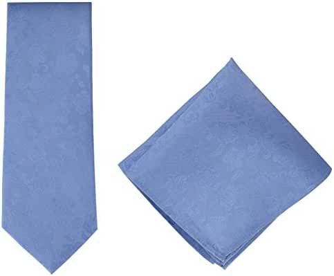 Light Blue Subtle Floral Silk Tie and Pocket Square Set by Michelsons of London