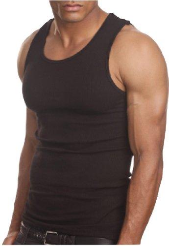 ToBeInStyle Men's A-Shirt Tank Top Muscle Shirt - 2X - Black (Black Muscle)