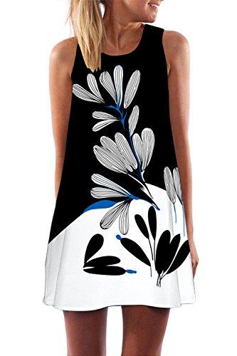Women Sleeveless Boho Floral Dress Beach Sundress Summer Casual Mini Short Dress