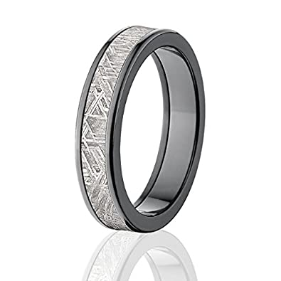 Dark Black Zirconium And Meteorite Rings W Comfort Fit Warranty