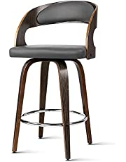 2 x Artiss Bar Stool Swivel Leather Upholstery Counter Bar Chair Wooden Kitchen Dining Stool