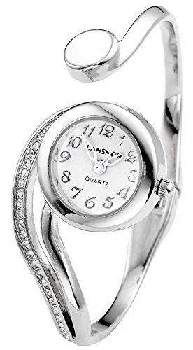 Top Plaza Women Casual Elegant Silver Tone Small Dial Bangle Cuff Bracelet Dress Analog Quartz Watch 6'',Thanksgiving Christmas (Dial Quartz Bracelet Watch)