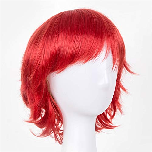 Peony red Short Wig Synthetic Wavy Costume Hairpiece Sky Blue/Red/Pink/Purple/White Colors Heat Resistant Hair Toupee Red 8inches