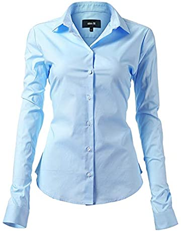 Harrms Women s Dress Shirts Long Sleeve Formal Shirts Women Cotton Slim Fit  Solid Casual Button Down e2cca1038bdf