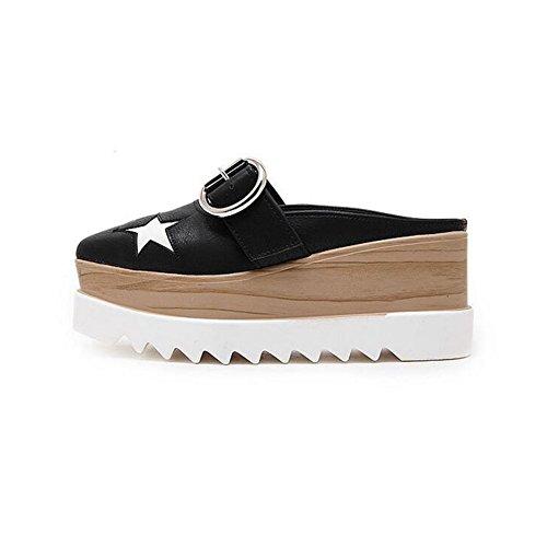 Pp Moda Donna Punta Quadrata Stella Antiscivolo Zeppe Piattaforma Sneakers Moda Pompa Sandali Con Pantofola Nero