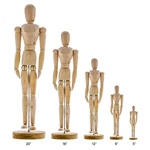 """US Art Supply Wood 12"""" Artist Drawing Manikin Articulated Mannequin with Base and Flexible Body - Perfect for Drawing The Human Figure (12"""" Female)"""
