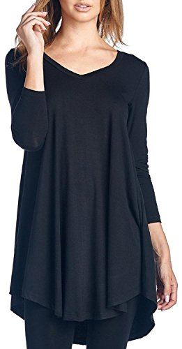 Anmengte Casual Loose Solid Color Long Sleeve Round Neck Blouse Top Dress (L, Black)