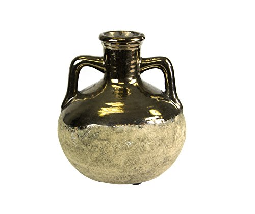 Sagebrook Home 11498 Two Texture Vase, Brass/Brown Terracotta, 5 x 5 x 5.75 Inches