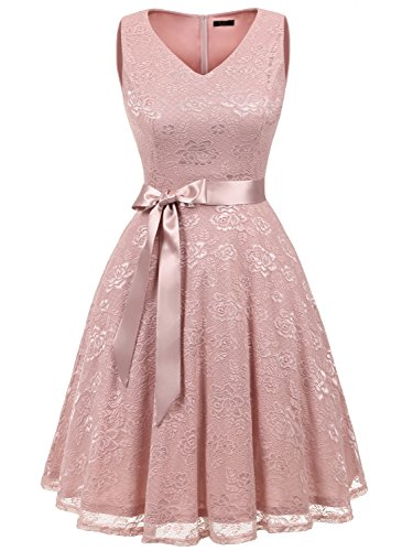 IVNIS RS90025 Women's Cocktail Dress V Neck Vintage Floral Lace Swing Bridesmaid Dress Blush2 3XL (Vintage Vneck Dress)
