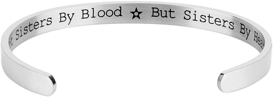 Lavias Bracelet Manchette Gravé Avec Citation Pas De Soeurs Par Le Sang Mais De Soeur Par Cœur Bracelets En Acier Inoxydable Pour Soeurs