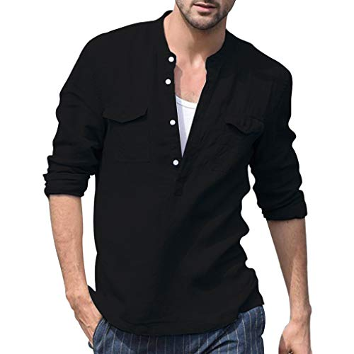 Willow S Men's Tops Baggy Cotton Linen Pocket Solid Color Long Sleeve Retro Button V-Neck T Shirts Tops Blouse Black
