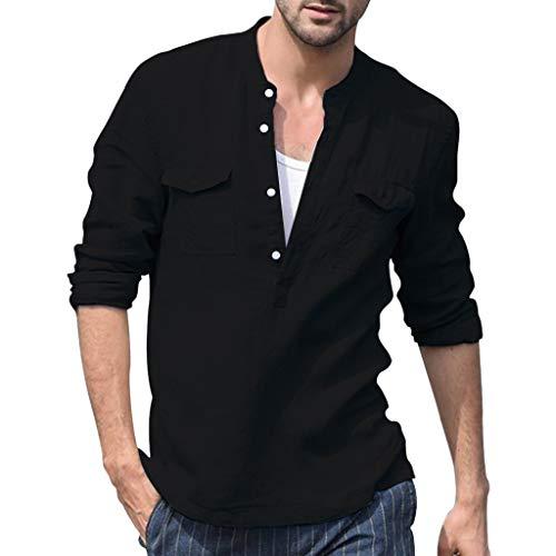 HHei_K Men's Baggy Cotton Linen Pocket Solid Long Sleeve Retro T Shirts Tops Blouse Clothing summer Tops for Men