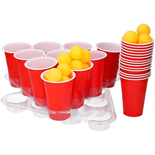 24 Cups and 24 Balls with 2 Trays MUQU/® 50 Piece Beer Pong Set Adult Drinking Game Indoor Birthday Fun College Parties Christmas New Year Alcoholic Friends Secret Santa Gift